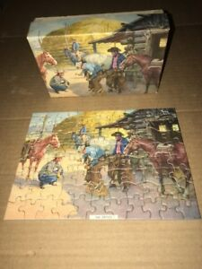 Vtg SMALL 1930-40's THICK Puzzle 80+ Pc THE CRITIC Cowboys Shoeing Horse Farrier