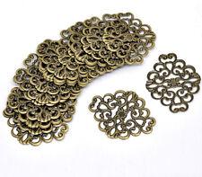 New 50 Bronze Tone Flower Wraps Connectors 37x30mm