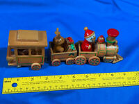 Vintage Santa Claus Wooden Train Xmas Tree Ornament 3 Car Village Decor Reindeer