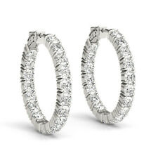 2ct Round Brilliant Cut VVS1 Diamond Inside Out Hoop Earring 9ct Solid WhiteGold