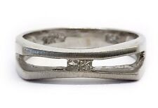 Vintage Art Deco Mens 18k Solid White Gold Princess Cut Diamond Ring 5.6mm Size9