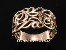 R003 Genuine SOLID 9ct Rose /Pink GOLD Wide Filigree Ring size Q