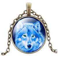 Vintage Fluoreszenz Wolf Cabochon Tibetischen Silber Glas Kette Anhänger Ha