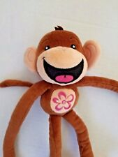 THE LIMITED TOO LTD 2 Brown Pink Monkey Plush Stuffed Toy Hanging Velcro Hands