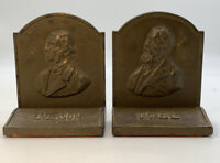 Vintage Emerson & Dickens Bookends Heavy Cast Iron Vintage Antique Pair 20-2251