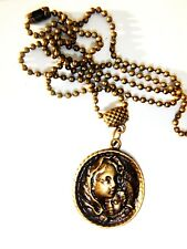 ANTIQUE GOLD TONE MADONNA & CHILD ON A BALL CHAIN FREE ORGANZA GIFT BAG JESUS