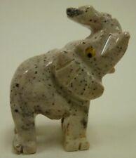 Hand Carved Stone Animal ELEPHANT good luck figurine Trunk up Raised Bingo Money