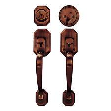 Door Handle Lock Set Copper Single Cylinder Double Entry Way Security Entrance