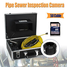 "50M 7"" Color LCD Sewer Drain Pipe Inspection Camera Snake Endoscope 8GB DVR S1"