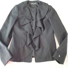 Albert Nipon  blazer,JACKET,SZ 4 ,black ruffle wool blend o1