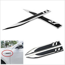 2Pcs Universal Metal R Logo Car Side Fender Skirts Knife Badge Emblem Stickers