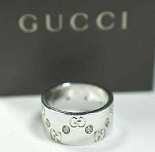 GUCCI 18K Gold.33cts Diamond Icon Wide Band Ring 10.5 grams MINT $5060 Retail