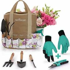 Garden Tools Set - 9 Piece Gardening Kit - Easy to Carry Tote Bag - Pretty