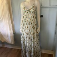 Quiksilver Tiki Tile Print Tie Back Tiered Maxi Long Dress Small