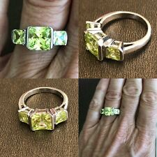 Sterling Silver 925 Size 6 Light Green Stone