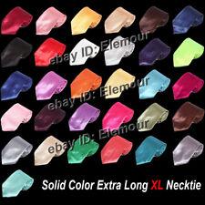 Men's Solid Color Extra Long XL Neck Tie Neckwear Plain Solid Men Tie