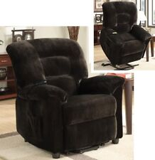 Chocolate Brown Power Lift Recliner Padded Velvet Upholstery Arm Chair Recliners