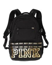 Victorias Secret PINK COLLEGIATE BACKPACK - Black With Gold - 2017 - NWT