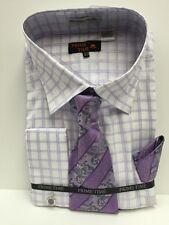Men's Dress Shirt Prime Time White Lavender Silver Tie & Hanky Size 20.5 36/37