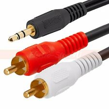 3.5mm Male to 2 RCA Y Cable 6ft 10ft 12ft 15ft 25ft Aux Audio Android 3.5mm-2RCA
