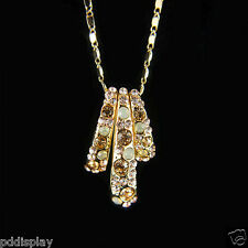14k Gold GF Swarovski Crystals Brilliant Pendant Necklace