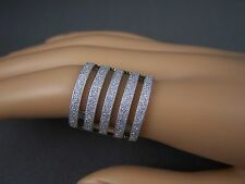 Silver tone sparkly glittery 5-line big cocktail statement ring adjustable