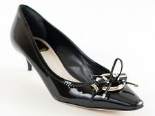 New  Christian Dior Black Patent Leather Metal Twist Pumps 39  US 9