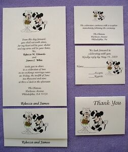 25 Personalized Custom Mickey and Minnie Disney Couple Wedding Invitations Set