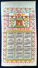Vtg 1976 Calendar Tea Towel Bless This House Sampler Look Alphabet Kitchen