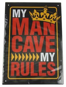 My Man Cave My Rules Metal Sign Men Gold Crown King Wall Room Decor Black Red