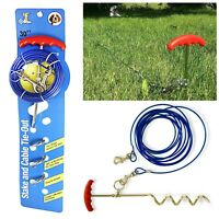 Dog Tie Out Wire Cable Lead Garden Ground Stake Spike Camping 30ft