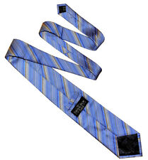 SAVILE ROW LONDON Classic Mens Stripe Silk Necktie Tie Blue Gold White - RRP £50