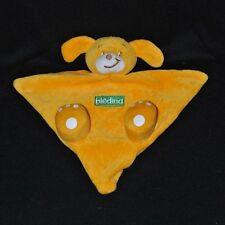 Peluche doudou marionnette chien BLEDINA jaune blanc vert NEUF