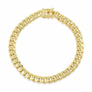 14k Yellow Gold 7mm Miami Cuban Link Chain Bracelet Sz 8 inch