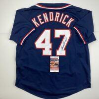 Autographed/Signed HOWIE KENDRICK Washington Blue Baseball Jersey JSA COA Auto