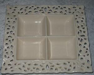 1 x CASA DOMANI CREAM DIP PLATTER (DISH SEPARATED INTO FOUR FOR DIPS) NEVER USED