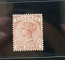 BAHAMAS 1884 QUEEN VICTORIA £1 SG 57 Sc 32 top value MLH