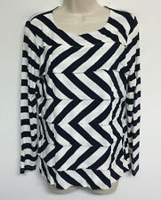 CHICOS Navy Blue Striped Silver Metallic Rayon Knit Shirt Top Blouse Tiered 1 M