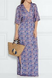 Tory Burch Corrine Maxi  Dress  Silk Blend 2 Artemis XS Purple Caftan