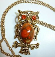CUTE Vintage Rhinestone Art Glass Cabochon Jelly Belly OWL Pendant Necklace Pin