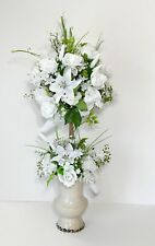 WHITE ROSES LILLIES ELEGANT WEDDING TOPIARY FLORAL ARRANGEMENT CENTERPIECE NEW