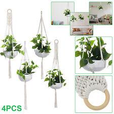 More details for 4pack macrame plant hanger garden hanging planter basket rope pot holder décor