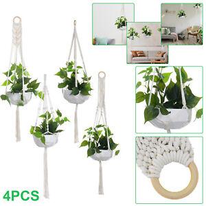 4Pack Macrame Plant Hanger Garden Hanging Planter Basket Rope Pot Holder Décor