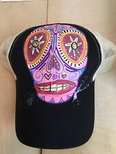 Trucker Hat Candy Scull Artist Print Hat Econscious Branded Snapback Handpainted