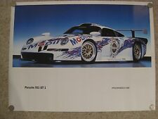 1996 Porsche 911 GT1 Coupe Showroom Advertising Sales Poster RARE!! Awesome L@@K