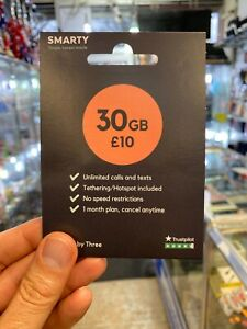 Smarty NEW Sim Card Mobile 30GB Unlimited Calls & Texts Fast P&P SIMS