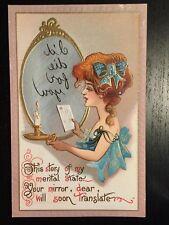 1910s Dwig Fortune Teller Postcard - Art Deco Glamor Lady - Message in Mirror