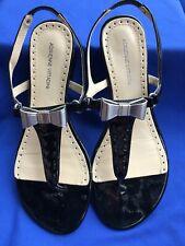 Adrienne Vittadini~Velda~Black Patent Leather Sandals~Silver Bow~Sz8.5~Worn once