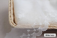"""14Yds Embroidery scalloped mesh Ribbon eyelet lace trim 3.1"""" YH958a laceking2013"""