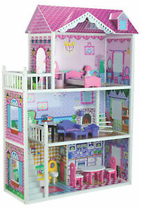 NEW LARGE QUALITY BUBBADOO WOODEN DOLL HOUSE FITS BARBIE OR BRATZ DOLLS